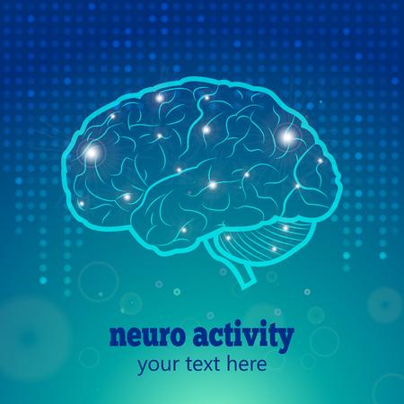 neurology: Human Brain Neurology Anatomical Conception Vector Illustration