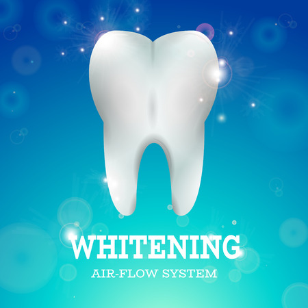 tooth whitening: Tooth Whitening Air Flow System Dentistry Vector Illustration. Medical Conception for Tooth Clinic. Healthy Tooth w Clean Enamel on Blur Blur Pattern. Clean Tooth for Stomatology Clinic Illustration