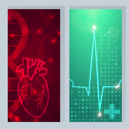 Heart pulse - 2 medical wallpaper,vector illustration.Heart on gene chain dna pattern.Pulse beat on green blur pattern dotted wallpaper.Medical wallpaper for medical site,cardiology clinic