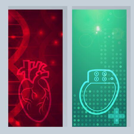 lifesaver: Heart pacemaker lifesaver - 2 medical wallpaper,vector illustration.Heart on gene chain dna pattern.Heart Pacemaker on green blur pattern.Medical wallpaper for medical site,cardiology clinic Illustration