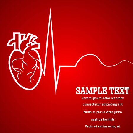 Heart pulse - medical wallpaper,vector illustration.Heart and pulse beat cardiogram red blur wallpaper.Pulse line heart monitoring.Medical wallpaper for medical site,cardiology clinic