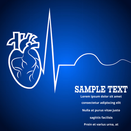 Heart pulse - medical wallpaper,vector illustration.Heart and pulse beat cardiogram blue blur wallpaper.Pulse line heart monitoring.Medical wallpaper for medical site,cardiology clinic