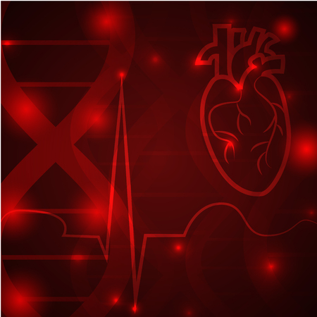Heart pulse - medical wallpaper,vector illustration.Heart and pulse beat cardiogram on red brown gene chain dna pattern.Medical wallpaper for medical site,cardiology clinic