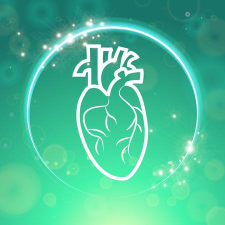lifesaver: Heart in sparkling circle medical wallpaper,vector illustration.Human Heart on green blur pattern. Medical wallpaper for medical site,cardiology clinic Illustration