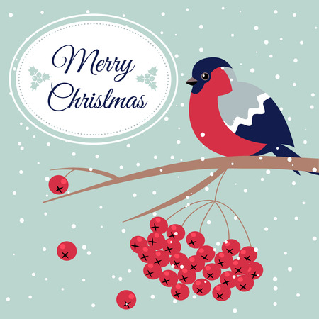 Merry Christmas Bullfinch Christmas Rowan Tree Branch Xmas Wish Postcard with Bullfinch,Rowan Branch,Snowflakes and Oval Frame Edging Dotted Line.December 25 greeting card with xmas bird snowflakes