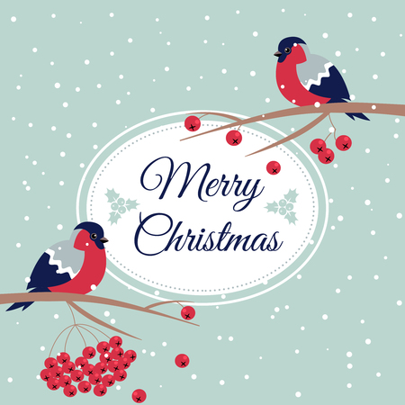 rowanberry: Merry Christmas Bullfinch Christmas Rowan Tree Branch Xmas Wish Postcard with Bullfinches,Rowan Branches,Snowflakes and Oval Frame Edging Dotted Line.December 25 greeting card and xmas bird snowflakes Illustration
