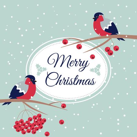 Merry Christmas Bullfinch Christmas Rowan Tree Branch Xmas Wish Postcard with Bullfinches,Rowan Branches,Snowflakes and Oval Frame Edging Dotted Line.December 25 greeting card and xmas bird snowflakes Ilustração