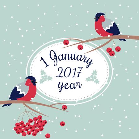 新年のウソと新年ローワン ツリーみごと、ナナカマドの枝と楕円形フレーム支店新年願いはがき新年鳥雪片で点線 Line.1 1 月お祝いカードをエッジン