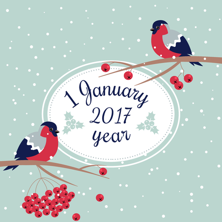 newyear: New Year Bullfinch and New Year Rowan Tree Branch NewYear Wish Postcard with Bullfinches,Rowan Branches and Oval Frame Edging Dotted Line.1 January Celebration Card with New Year Bird Snowflakes Illustration