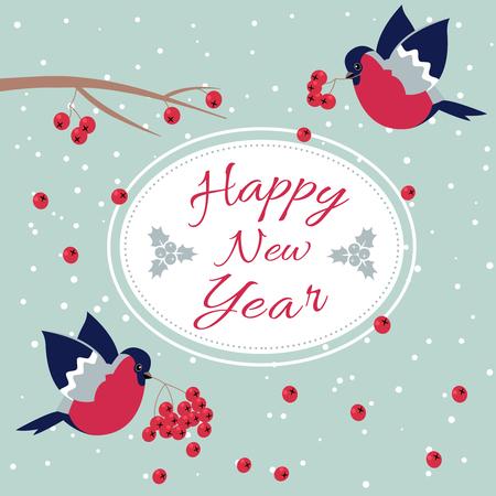 新年ウソと新年ローワン ツリー ブランチ新年願いみごと、ナナカマドの枝と点線 Line.Happy 新年を縁取り楕円形フレームはがき新年鳥雪片ではがきを