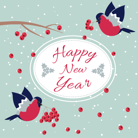 New Year Bullfinch and New Year Rowan Tree Branch NewYear Wish Postcard with Bullfinches,Rowan Branches and Oval Frame Edging Dotted Line.Happy New Year Wish Postcard with New Year Bird Snowflakes Illustration