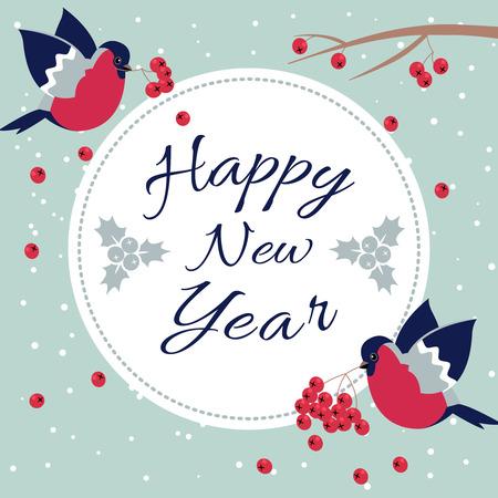 新年ウソと新年ローワン ツリー ブランチ新年願いみごと、ナナカマドの枝と点線 Line.Happy 新年をエッジング ラウンド フレームはがき新年鳥雪片で