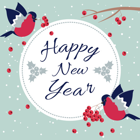 january 1st: New Year Bullfinch and New Year Rowan Tree Branch NewYear Wish Postcard with Bullfinches,Rowan Branches and Round Frame Edging Dotted Line.Happy New Year Wish Postcard with New Year Bird Snowflakes