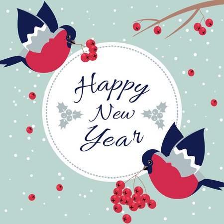 newyear: New Year Bullfinch and New Year Rowan Tree Branch NewYear Wish Postcard with Bullfinches,Rowan Branches and Round Frame Edging Dotted Line.Happy New Year Wish Postcard with New Year Bird Snowflakes