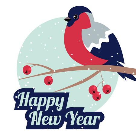 newyear: New Year Bullfinch and New Year Rowan Tree Branch NewYear Wish Postcard with Bullfinche,Rowan Branch and NewYear Snowflakes in Round Frame.Happy New Year Wish Postcard with New Year Bird Snowflakes