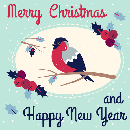 Merry Christmas Bullfinch w Christmas Rowan Tree Branch and New Year Bullfinch w New Year Rowan Tree Branch Wish Postcard with Oval Frame Edging Dotted Line.Wish Postcard with Xmas Bird Snowflakes