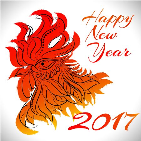 newyear: NewYear bird symbol of 2017 year,Head of Rooster - Chinese bird zodiac animal sign, vector illustration.Red Rooster oriental bird - Chinese zodiac year symbol of 2017,chinese NewYear celebration.