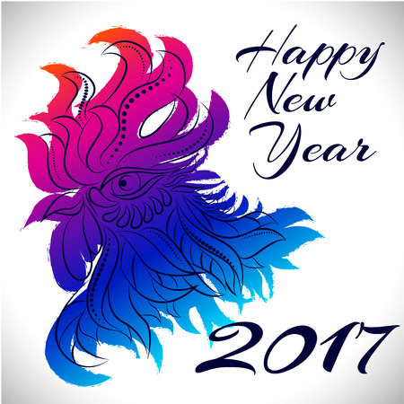 newyear: NewYear bird symbol of 2017 year,Head of Rooster - Chinese bird zodiac animal sign, vector illustration.Blue Rooster oriental bird - Chinese zodiac year symbol of 2017,chinese NewYear celebration. Illustration