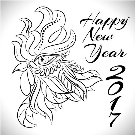 newyear: NewYear bird symbol of 2017 year,Head of Rooster - Chinese bird zodiac animal sign, vector illustration.White Rooster oriental bird - Chinese zodiac year symbol of 2017,chinese NewYear celebration. Illustration