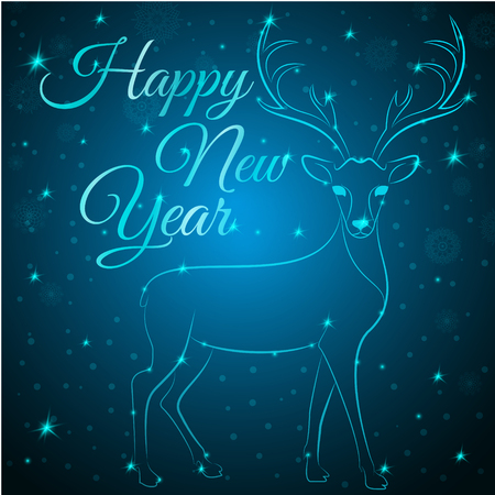 newyear: NewYear reindeer on snowflakes dots stars background.Graceful noble animal reindeer on blue soft glow surrounding,happy new year wish postcard.New Year reindeer silhouette - blue reindeer with antlers