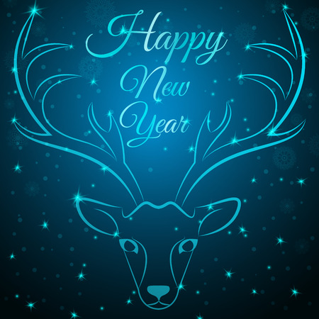 NewYear reindeer head on snowflakes dots stars background.Graceful noble animal reindeer on blue soft glow surrounding,happy new year wish postcard.New Year reindeer silhouette-reindeer head w antlers