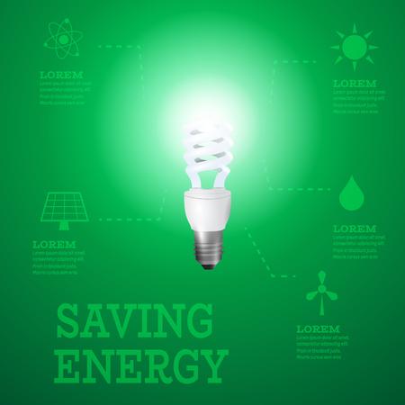 luminous: Luminous bulb on green Luminous background with Alternative energy resources
