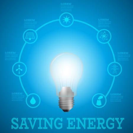 luminous: Luminous bulb on blue Luminous background surrounded with energy resources