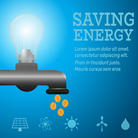 luminous: Ecology infographic.Luminous bulb on kitchen bathroom faucet on blue luminous background with Alternative energy resource