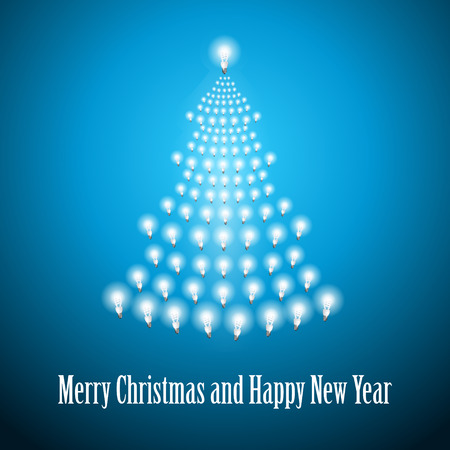 newyear: Shining New Year tree made of bulbs on blue luminous background.Luminous bulbs in shape of xmas firtree.Happy NewYear wish and Merry Christmas wish postcard,saving energy concept.