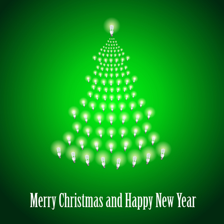 newyear: Shining New Year tree made of bulbs on green luminous background.Luminous bulbs in shape of xmas firtree.Happy NewYear wish and Merry Christmas wish postcard,saving energy concept.