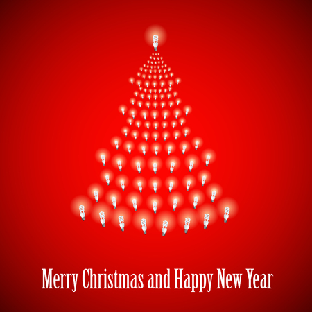 newyear: Shining New Year tree made of bulbs on red luminous background.Luminous bulbs in shape of xmas firtree.Happy NewYear wish and Merry Christmas wish postcard,saving energy concept.