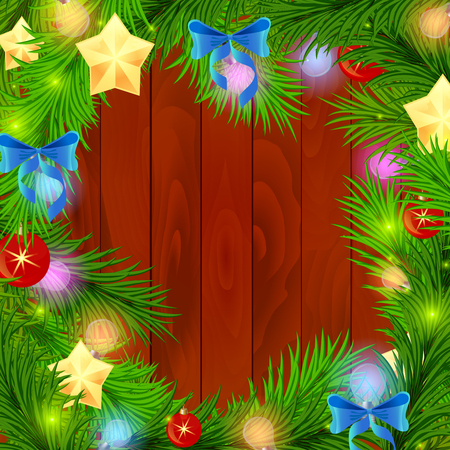 newyear: New Year Firtree needles branches with Xmas shining stars balls,festive newyear bows and luminous bulbs on ligneous background - NewYear shining decorations. New year and xmas wish postcard
