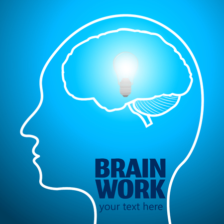 Human Brain Logo,Neurology Anatomical Conception.Cerebrum and Cerebellum w Medical Logo Brain Work.Mind Thoughts shines like thought bulb in human head logo silhouette on blue luminous background
