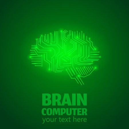 Human Brain Logo in form of Electronic brain computer,Neurology Conception.Silicon chips in form of Cerebrum and Cerebellum with mind thoughts shines,text Brain Computer on green luminous background