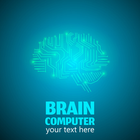cerebrum: Human Brain Logo in form of Electronic brain computer,Neurology Conception.Silicon chips in form of Cerebrum and Cerebellum with mind thoughts shines,text Brain Computer on blue luminous background