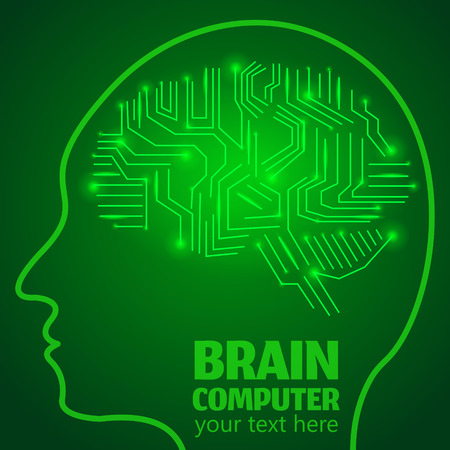 brain works: Human Brain Logo,Neurology Anatomical Conception.Silicon chips w synapses in shape of Cerebrum Cerebellum w text Brain computer on green luminous background.Brain Thought lights shines as Brain works Illustration