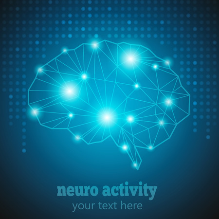 brain works: Abstract Human Brain Medical Logo,Neurology Anatomical Conception.Cerebral Geometric Brain and Cerebellum on blue dotted background w text Neuro Activity.Brain Thought lights shines as Brain works