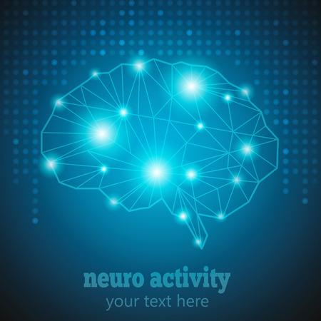 Abstrakt Human Brain Medical Logo, Neurologie Anatomische Conception.Cerebral Geometrische Gehirn und Cerebellum auf blau gepunkteten Hintergrund w Text Neuro Activity.Brain Thought Lichter glänzt als Gehirn funktioniert