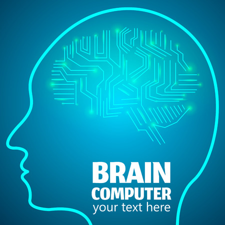 brain works: Human Brain Logo,Neurology Anatomical Conception.Silicon chips w synapses in shape of Cerebrum Cerebellum w text Brain computer on blue luminous background.Brain Thought lights shines as Brain works