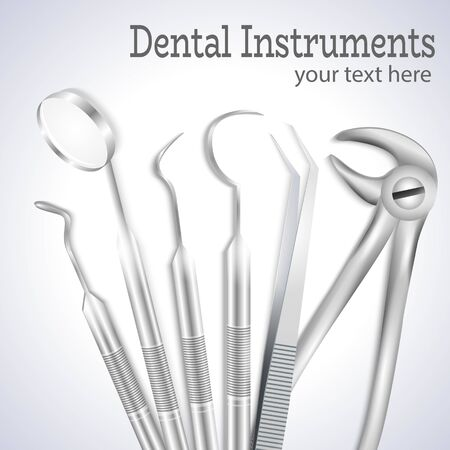 Teeth dental medical equipment steel tools set realistic vector illustration.Dental explorer,Dental probe,Mouth mirror,Dental forceps,Medical Tweezers,Dental Pick-3d realistic set for medical brochure.