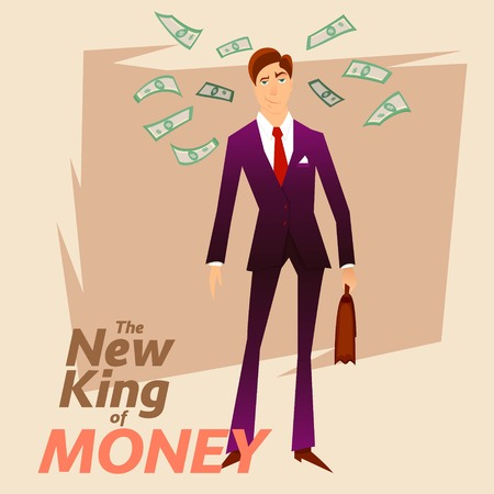 New King of Money.Successful White Colar Character on Money Greenback Background.Happy Trader Person in Blue Formal Suit.Successful Clerk Character Stocks Broker on Dollars Greenback Background. Illustration