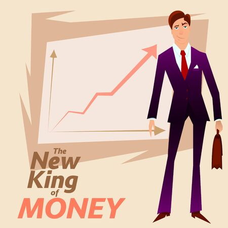 traders: New King of Money.Successful White Colar Character on Income Growth graph background.Rich Merchant Person in Blue Formal Suit.Successful Clerk Character Stocks Broker on Income Growth Chart Plan. Illustration