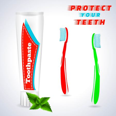 Toothbrush with Toothpaste in Spearmint Flavor Illustration
