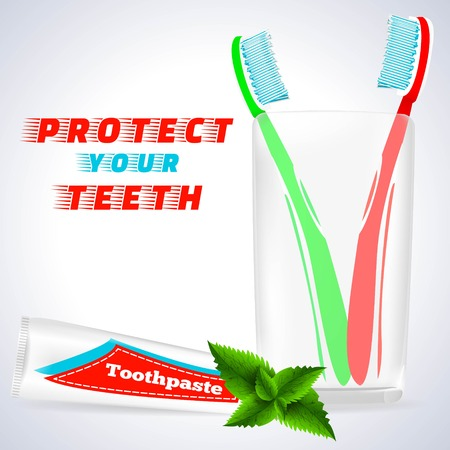 Teeth Protection,Medical Conception for Tooth Clinic.Red Toothbrush,Green Toothbrush in Toothbrush Glass.Toothpaste Tube,Spearmint Flavor with mint flavor leaves on simple White Gray Background