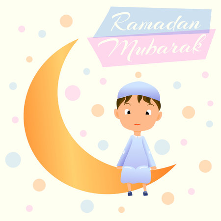 Ramadan Kareem greeting card for Muslim Celebration Ramazan.Happy Muslim Boy on Moon Crescent Card with wish words Ramadan Mubarak.Crescent Moon Ramazan w Garland and Smiling Muslim Child in Djellaba.