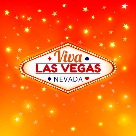 Las Vegas Casino Sign.Casino Color Signboard Viva Las Vegas Nevada w Diamonds suit,Hearts suit,Spades symbol,Crest symbol in Frame of Light Bulbs on Gold Gleamig Stars,Gold Shining Stars Background