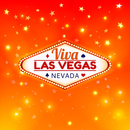 Las Vegas Casino Sign.Casino Color Signboard Viva Las Vegas Nevada w Diamonds suit,Hearts suit,Spades symbol,Crest symbol in Frame of Light Bulbs on Gold Gleamig Stars,Gold Shining Stars Background 免版税图像 - 79461066