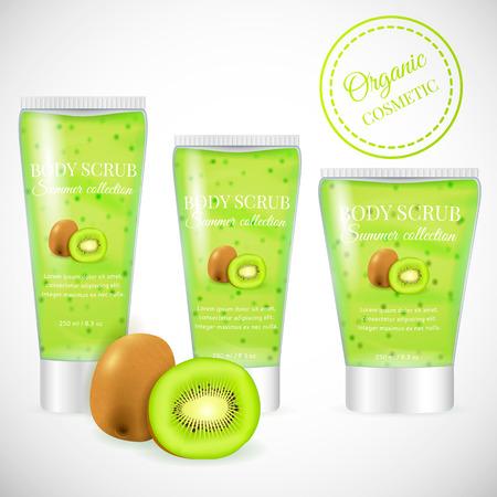 Realistic packaging body scrub bottles,organic scrub kiwi cosmetics tubes.Natural scrub cosmetic and 3d kiwi fruit.Organic cosmetics skin scrub.Fashion magazine advertising,luxury cosmetic collection