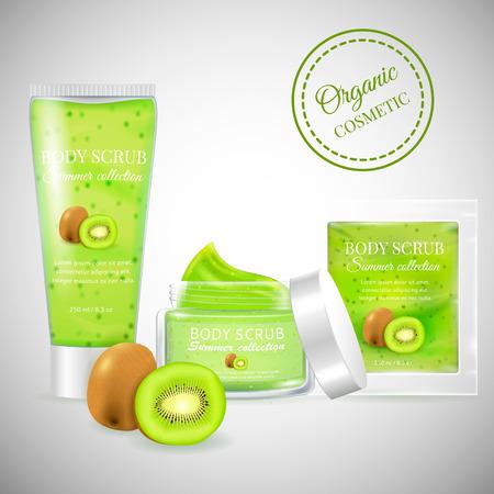 Realistic packaging body scrub bottles.Organic scrub kiwi cosmetics tube,Skin scrub organic cosmetics jar,cosmetics package.Fashion magazine cosmetics advertising,luxury cosmetic collection scrub gel
