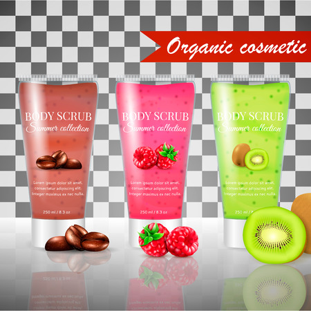 Realistic packaging body scrub.3 fruit cosmetics realistic tubes with skin scrub gel.Organic cosmetics body scrub summer collection.Fashion magazine cosmetics advertising,luxury cosmetic body scrub Çizim